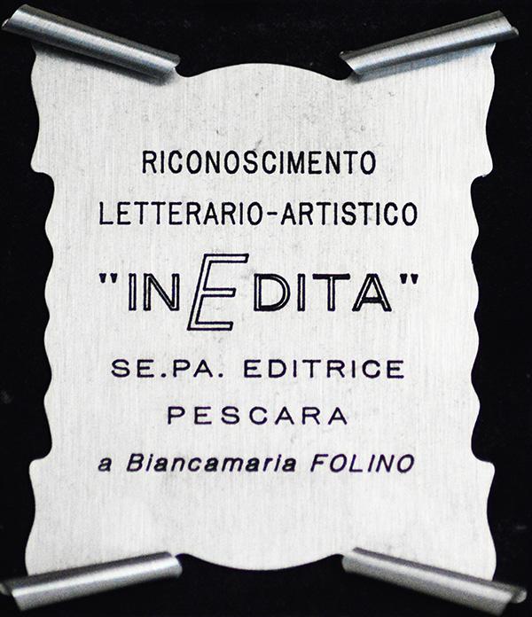 """Riconoscimento letterario-artistico """"InEdita"""" 1986"""