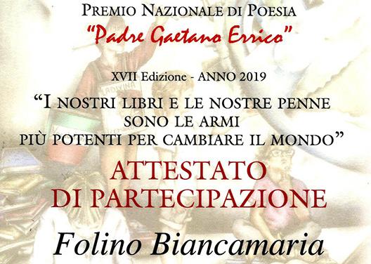 Premio Nazionale di Poesia Padre Gaetano Errico – XVII Ed. 2019