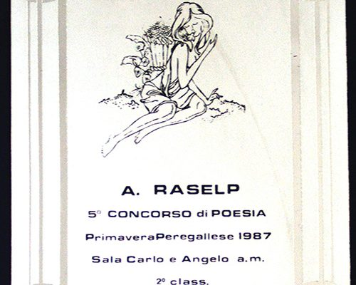 "5° concorso di poesia ""A.Raselp"" 1987 – 2a classificata"
