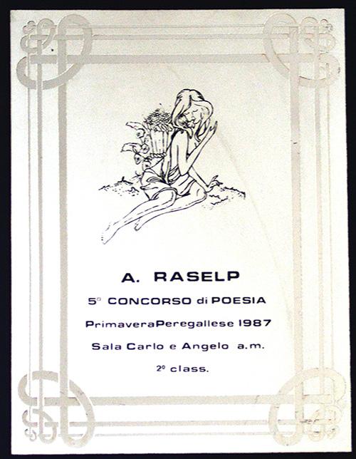 """5° concorso di poesia """"A.Raselp"""" 1987 – 2a classificata"""